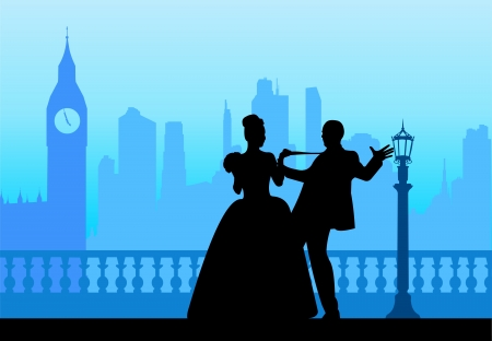 Wedding couple in front of Big Ben in London silhouette scene, one in the series of similar images layered Vector