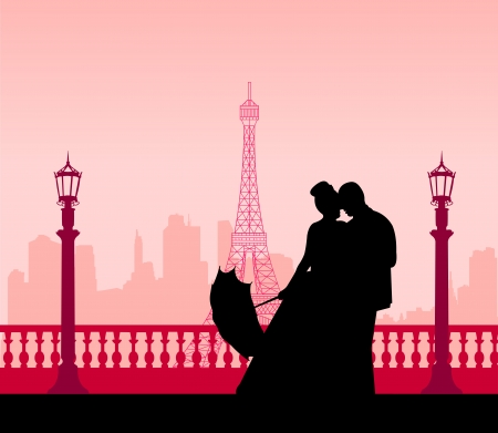 Wedding couple in front of Eiffel tower in Paris silhouette scene, one in the series of similar images layered