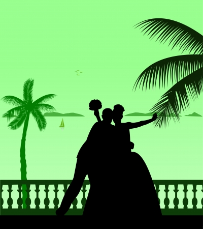 Wedding couple on the beach silhouette scene layered Vector