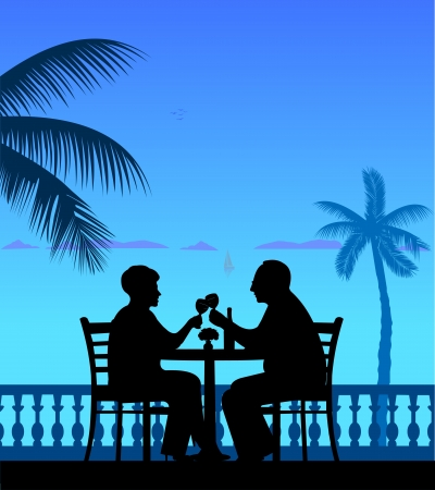 happy couple beach: Lovely retired elderly couple drinking wine on the beach under palm tree, one in the series of similar images silhouette layered
