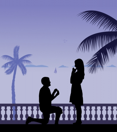 seacoast: Romantic proposal on seacoast between the palms on the beach silhouette layered Illustration