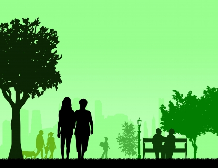 People in park and different activities in park scene silhouette layered, one in the series of similar images Vector