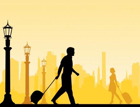viaje de negocios: Una mujer de negocios y hombre de negocios viaja en viaje de negocios silueta en capas