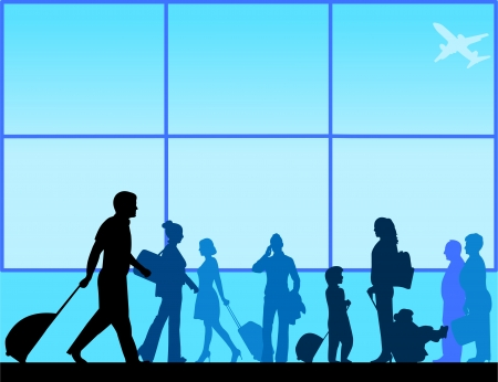 Passengers with luggage in airport lounge silhouette scene layered Vector