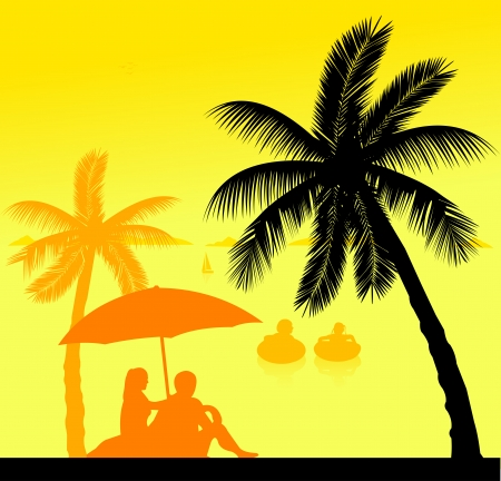 Little kids swim in the sea and the parents sit on the seashore under the palm trees silhouette layered, one in the series of similar images Stock Vector - 22753175