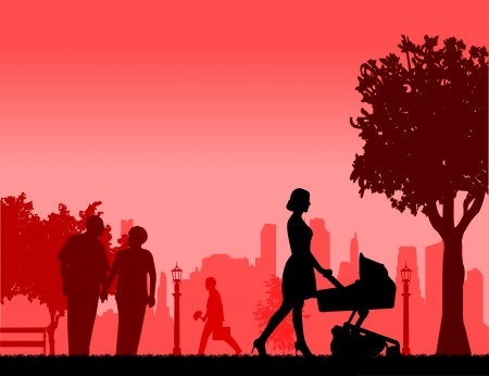 People in park and different activities in park scene silhouette layered, one in the series of similar images Stock Vector - 22753176