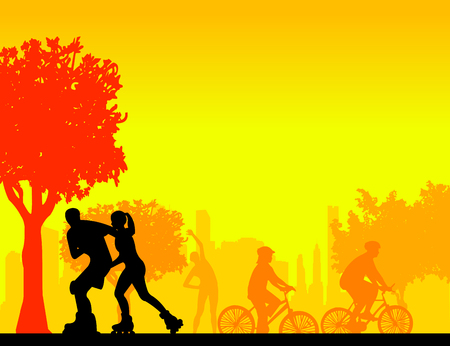 People in park in different sports activities scene silhouette layered