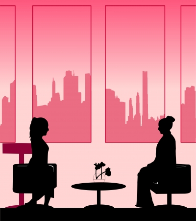 Silhouettes of girls talk scene layered Stock Vector - 22753188