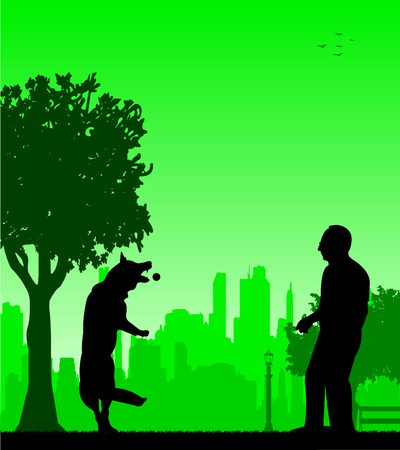 Man playing with his dog in the park silhouette layered Vector