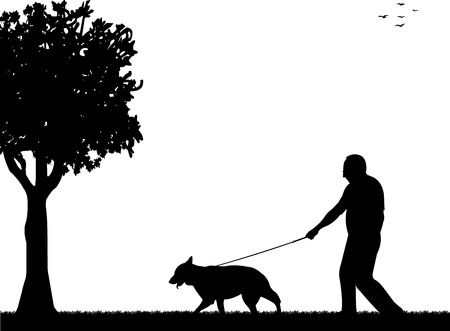 dog walking: Man walking with his dog in the park silhouette layered