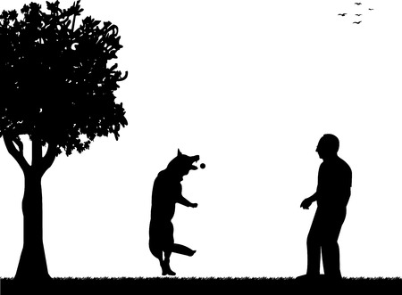 Man playing with his dog in the park silhouette layered, one in the series of similar images Vector