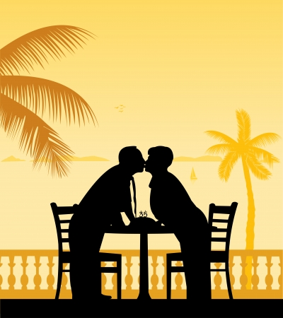 Lovely retired elderly couple celebrate their anniversary on the beach under palm tree silhouette layered Vector