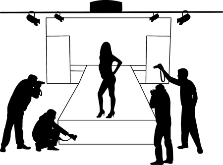 Catwalk and model who poses as photographers take pictures silhouette layered Vector