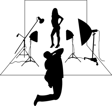 Model posing in studio in front of the photographer silhouette layered Vector