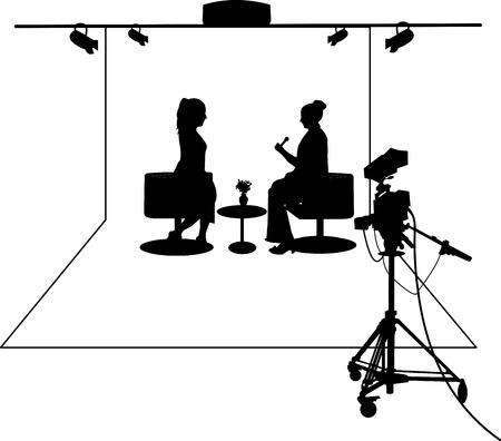 guests: El periodista entrevista a un invitado en un estudio de televisi�n silueta capas Vectores