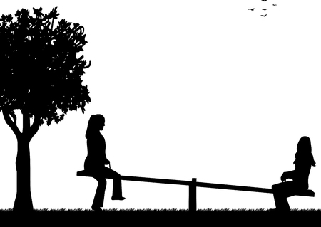 Girls in the park on a seesaw silhouette Vector
