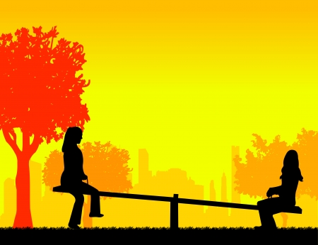 Girls in the park on a seesaw silhouette layered Vector