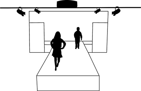 Catwalk and children models silhouette layered Vector
