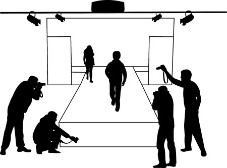 Catwalk and children models who poses as photographers take pictures silhouette layered Vector