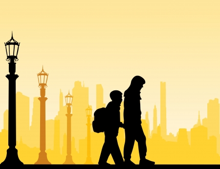 school bag: Kids going to school with backpack, sister leads brother on the pedestrian crossing silhouette layered Illustration