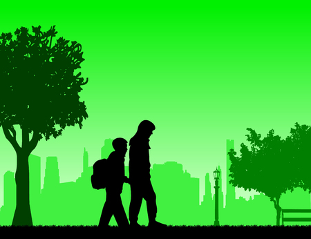 Kids going to school with backpack, sister leads brother to school through the park silhouette layered Vector
