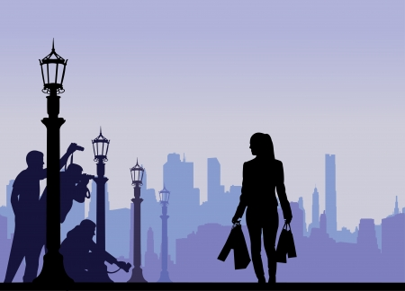 Celebrity and paparazzi hidden take pictures on the street silhouette layered Vector