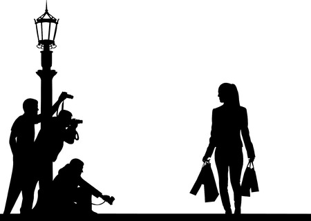 Celebrity and paparazzi hidden take pictures on the street silhouette  Vector