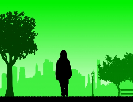 Girl going to school with backpack through the park silhouette layered Vector