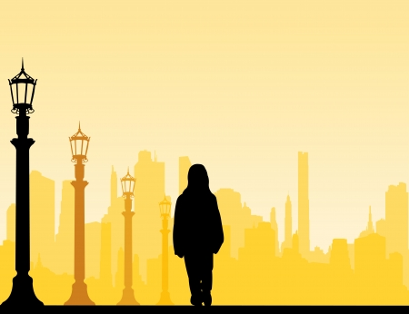 Girl goes to school with a backpack street silhouette layered Vector