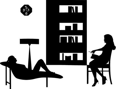 Femme souffrant de dépression dans une conversation avec une silhouette de thérapeute de psychiatre Banque d'images - 23683462