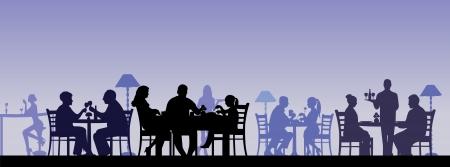 계층화 된 별도 개체로 모든 인물과 레스토랑에서 식사하는 사람들의 실루엣 일러스트
