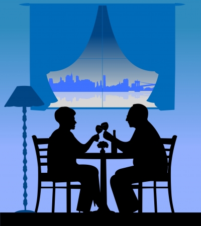 similar images: Lovely retired elderly couple drinking wine, one in the series of similar images silhouette layered