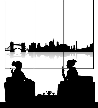 Silhouettes of girls in cafe drinking cup of tea scene, one in the series of similar images Vector