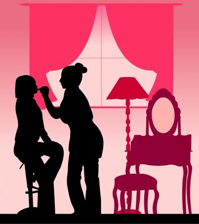 makeup artist: Makeup artist applied lipstick girl in room silhouette layered