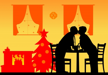 Lovely retired elderly couple kissing and enjoying the Christmas holidays and New Year, one in the series of similar images silhouette layered Vector