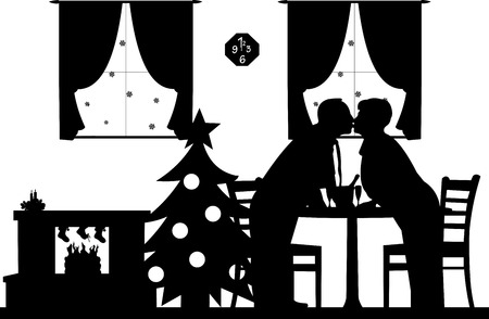 Lovely retired elderly couple kissing and enjoying the Christmas holidays and New Year, one in the series of similar images silhouette Vector