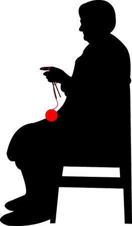 Silhouet van een oma met grote glazen, breien zittend Stock Illustratie