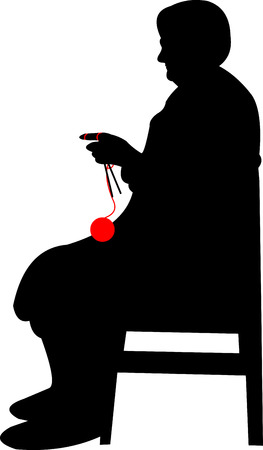 Silhouette of a grandma with big glasses, knitting while sitting