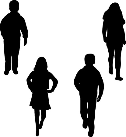 stylish boy: Children models, girls and boys silhouette  Illustration