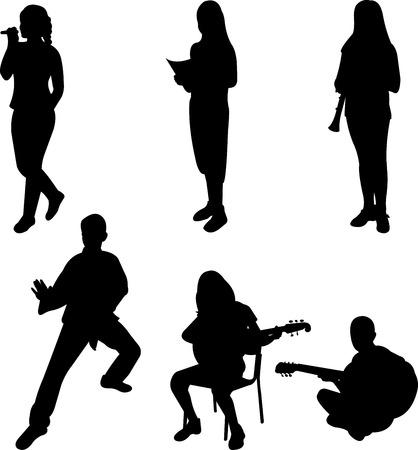 cantando: Los niños participan en la pasatiempos y actividades escolares silueta Vectores