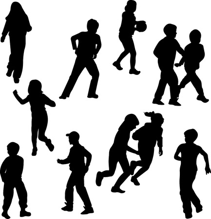 Group of children on the move silhouettes Vector