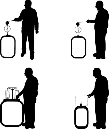 A set of scientist physicist in various poses for use in presentations and experiments silhouette Vector