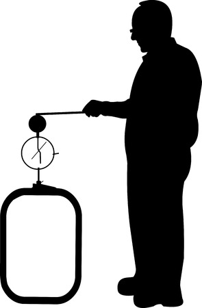 layered sphere: Scientist physicist in pose for use in presentations and experiments silhouette