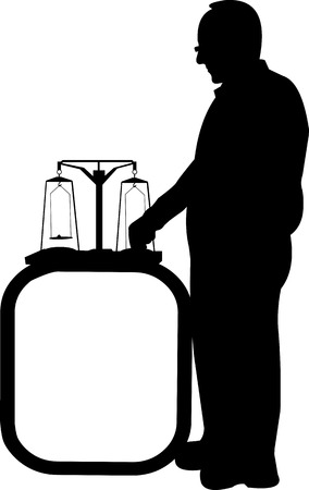 Physicist performs an experiment or presentation with pharmacy scales silhouette, one in the series of similar images Illustration