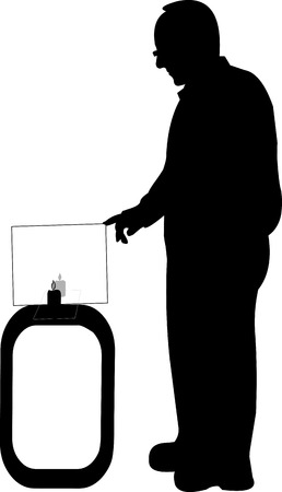 Physicist performs an experiment or presentation reflection of light silhouette, one in the series of similar images Vector