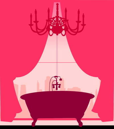 Bath on pink in retro or vintage style silhouette layered Vector