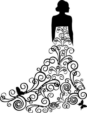 swirl backgrounds: Bella sposa con abito floreale con turbinii in stile retr� o vintage