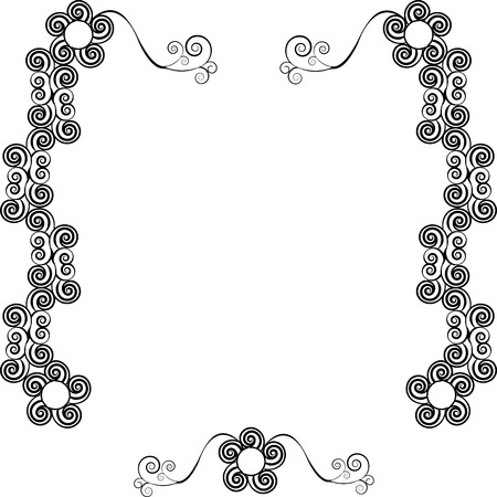 Decorative ornamental frame for text with swirls, one in the series of similar images silhouette Vector