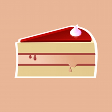 Jelly cake, the illustration of a piece of cream on cake Vector