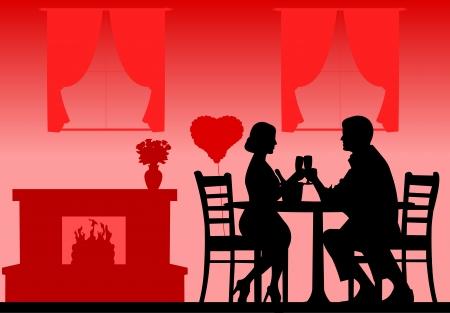 pareja comiendo: Cena romántica en San Valentín día s silueta en capas